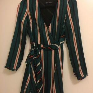 Zara striped long sleeve romper NWOT